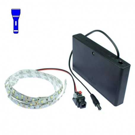 Light Painting batteries kit with 1m blue LED strip. Filaments effect