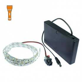 Light Painting batteries kit with 1m orange LED strip. Filaments effect