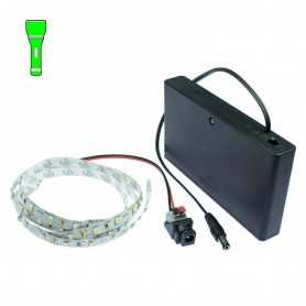 Light Painting batteries kit with 1m green LED strip. Filaments effect