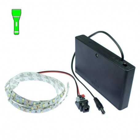 Kit Light Painting piles avec bande led vert de 1m. Effet filaments