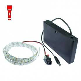 Light Painting batteries kit with 1m red LED strip. Filaments effect