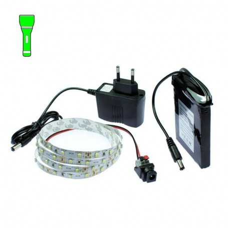Light Painting battery kit with 1m green LED tape. Filaments effect