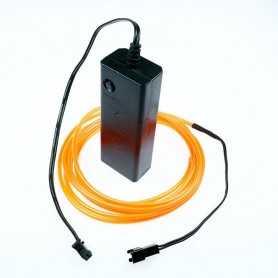 Kit fil lumineux orange à piles 2m. Effets Light Painting fumée et flammes
