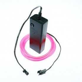 Kit fil lumineux rose à piles 2m. Effets Light Painting fumée et flammes