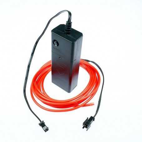 Kit fil lumineux rouge à piles 2m. Effets Light Painting fumée et flammes