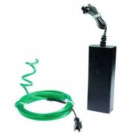 Kit néon modelable vert à piles 2m. Effets Light Painting forme fixe et fumée
