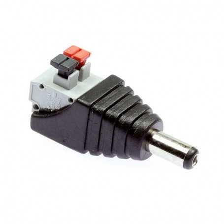 Male jack power connector clip for monochrome LED tape