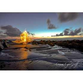 """Tableau """"On the Beach"""" by Cesium. Format 100cm par 70cm."""