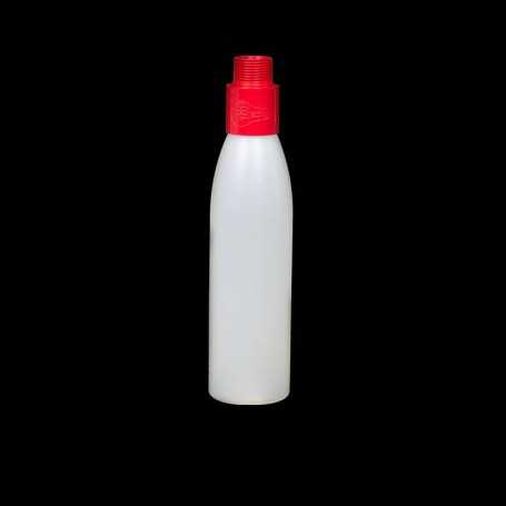 Mini opaque bottle with red filter. Smoke and steam Light Painting effects.