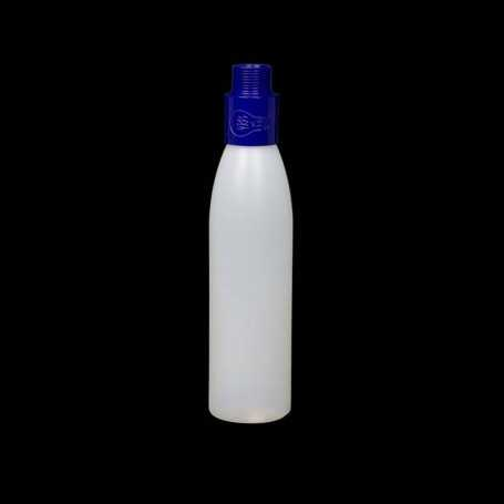 Mini opaque bottle with blue filter. Smoke and steam Light Painting effects.