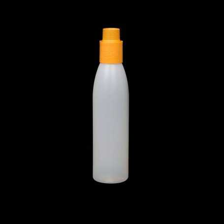 Mini opaque bottle with orange filter. Smoke and steam Light Painting effects.