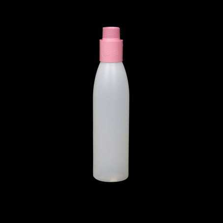 Mini opaque bottle with pink filter. Smoke and steam Light Painting effects.